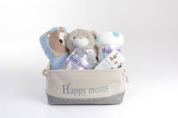 מארז ברק מעוצב עבור מתנה ליולדת בן עם מגוון מוצרים